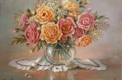 Róże, Kwiaty w wazonie, obraz olejny