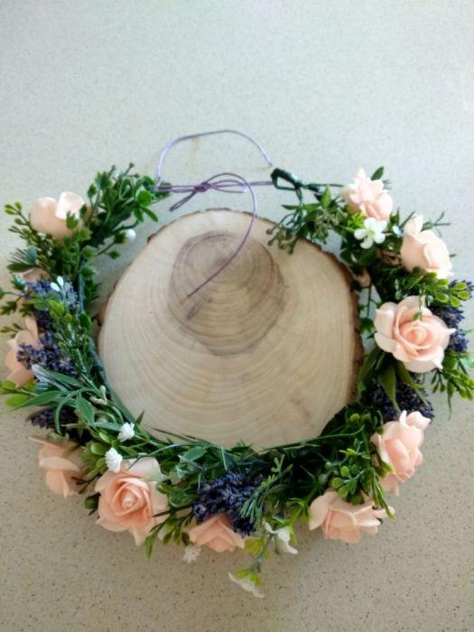 wianek na głowę lawendowo-brzoskwiniowy