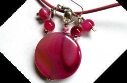 Różowe agaty, kobiecy zestaw biżuterii