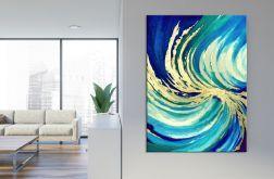 Abstrakcyjny obraz ze złotem Wave 60x80 cm