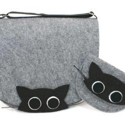 Zestaw torebka z portfelikiem koty