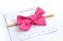 FairyBows opaska kokardka wiązana ciemny róż