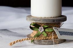 Szpulkowy Świecznik z zielenią
