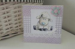 Kartka na Narodziny Roczek urodziny owieczka