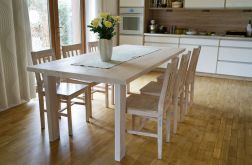 Solidny stół, lity bukowy blat.