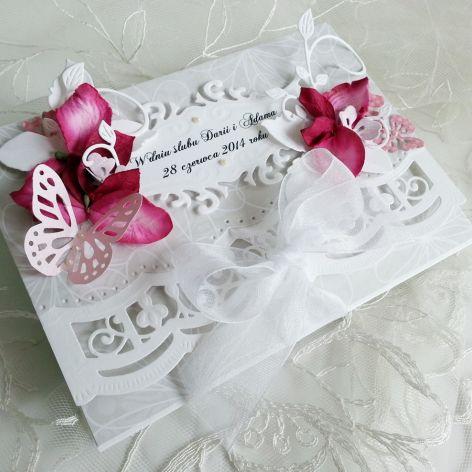 Kartka ślubna z hortensjami