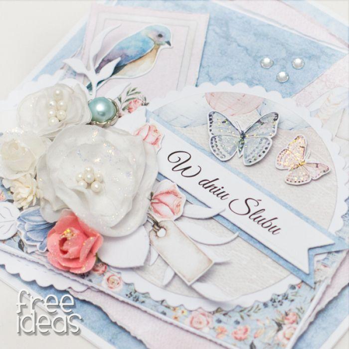 Przestrzenna kartka ślubna z kwiatami KS1910