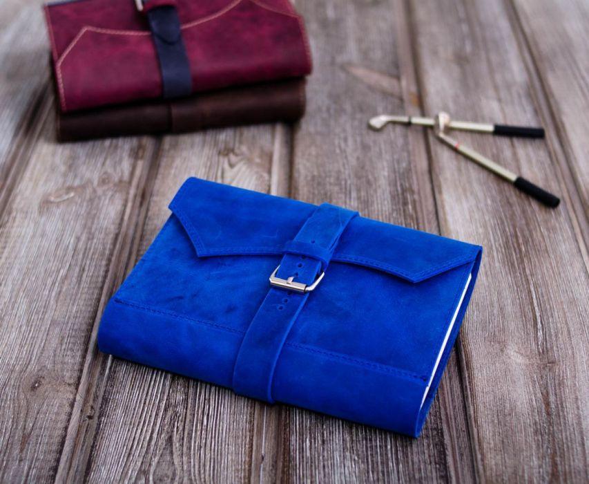Ręcznie robiony skórzany notes A5  niebieski