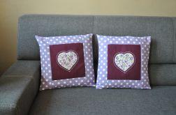 Komplet dwóch poszewek - fioletowe serce