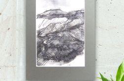 Szkic górski czarno biały rysunek -  n18