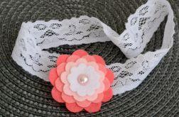 FairyBows Opaska koronka * kwiatek różowy