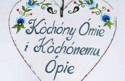 """Serduszko dla Babci i Dziadka """"Kòchóny Ómie i Kòchónemu Ópie """""""