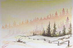 Obraz na ścianę akwarela zima wschód droga