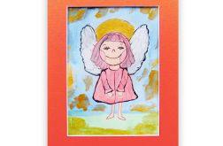Mały aniołek obrazek malowany ręcznie nr12