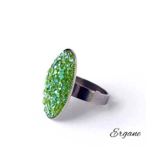 Zielony Pierścień Druzy z Żywicy