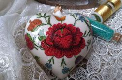 Bombka Serce Ludowe Kwiaty 10cm