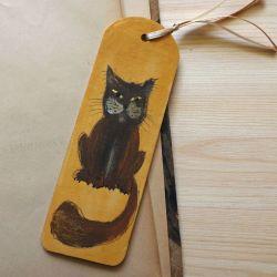 Zakładki malowane, szerokie - Koty w ochrze