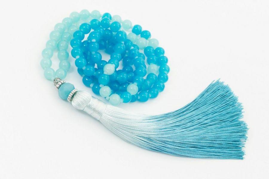 Naszyjnik Mala buddyjska niebieski ombre