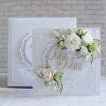 Ślubna kartka - biel i zieleń