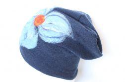 czapka wełniana filcowana granatowa
