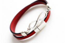 Bransoletka czerwona skóra 5mm - infinity