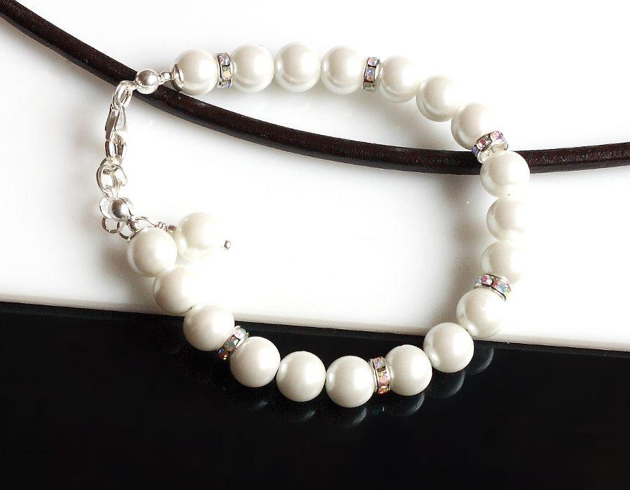 Perły Seashell - bransoletka - perły Seashell, srebro