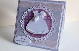 Kartka na Chrzest różowa z sukieneczką 2