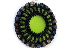 Wisiorek Zielono Czarny z Połyskiem Granatu
