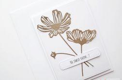 Kartka NA ŚLUB - brązowe kwiaty