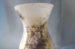 lampion-wazon szklany z fiołkami i konwaliami