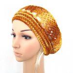 ażurowy bawełniany beret żółto-brązowy
