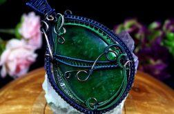 Agat, Miedziany wisior z agatem druzy zielony