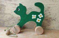 Drewniany kotek do ciągania, zielony