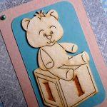Kartka na Roczek urodziny misiu niebieska -