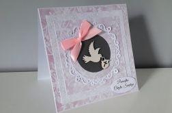 Kartka na Chrzest różowa gołąbek