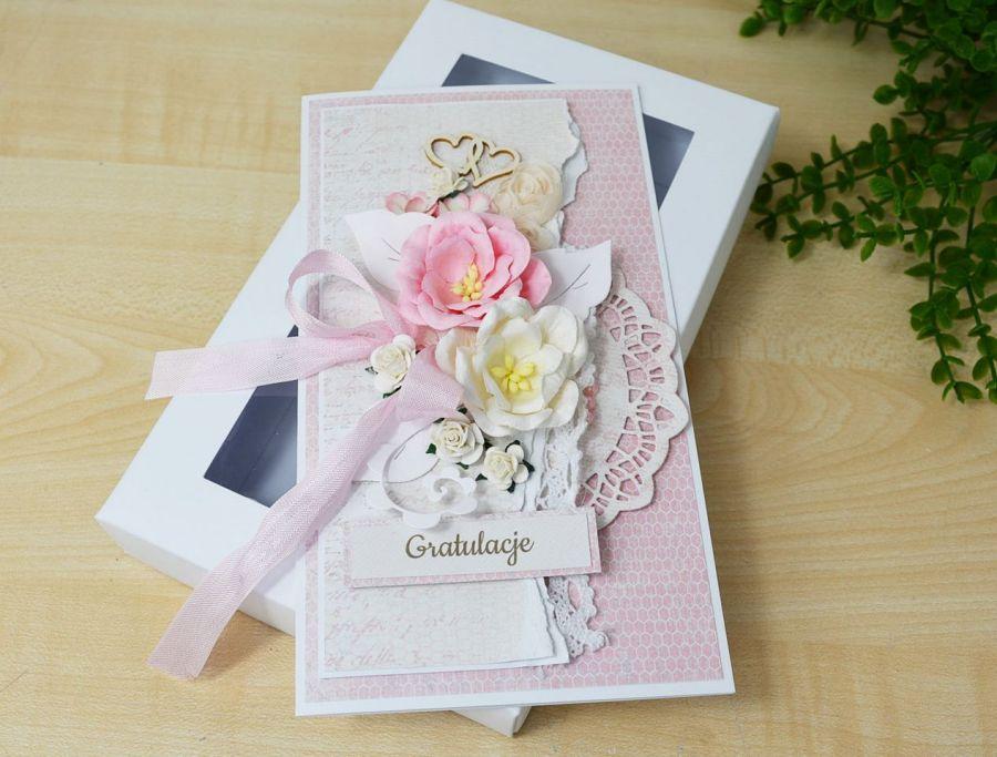 Różowa Kartka w pudełku - różowa