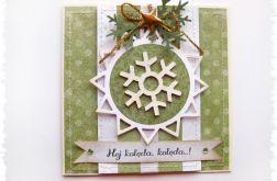 Zielona kartka świąteczna ze snieżynką