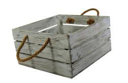 Skrzynka drewniana biało szara 30x31x16,5