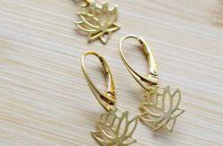 Komplet srebro 925 + 24K złoto kwiat lotosu