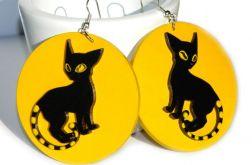 Kolczyki malowane Kot Czarno-żółty