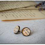 Kolczyki sztyfty, szklany kaboszon ~Pismo~