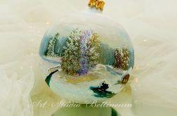 """Bombka malowana ręcznie """"Zimowy pejzaż"""" VI"""