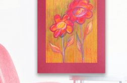 Rysunek kwiaty na bordowym tle nr 11 - szkic