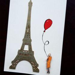 Paryż - kartka ręcznie projektowana