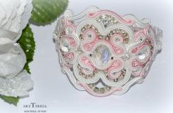 pudrowy róż z bielą, bransoletka sutasz