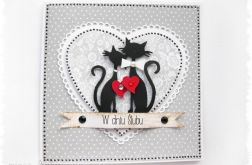 Kartka na ślub z kotkami