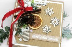 Kartka świąteczna pomarańcz śnieżynki BNR 032