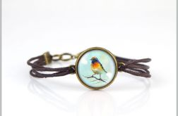 Bransoletka - Colourful Bird - brązowa, antyczny brąz