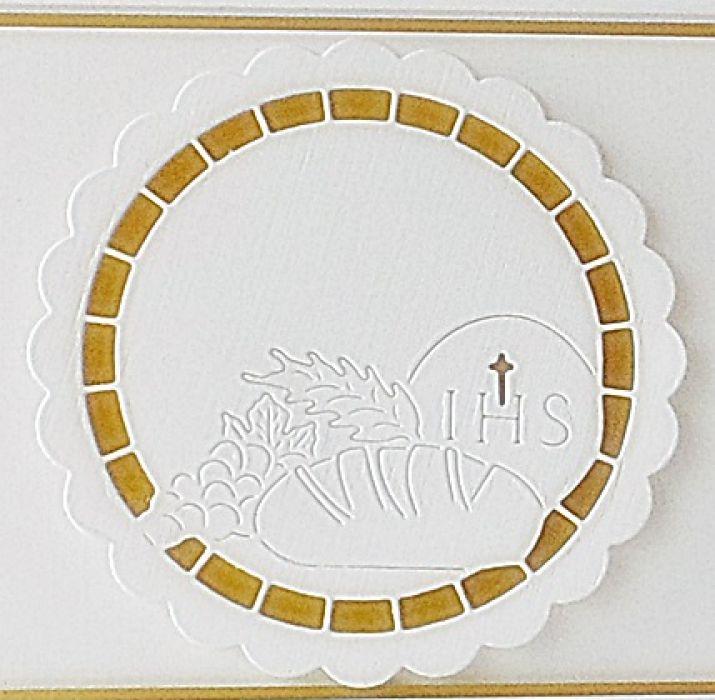 Zaproszenie - biel i złoto-I Komunia Świeta