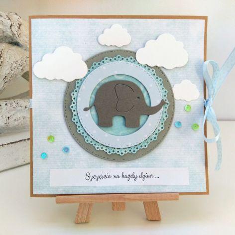 """Kartka ze słonikiem """"szczęścia każdego dnia"""""""